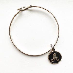 "Vintage silver & black letter ""A"" charm bracelet"